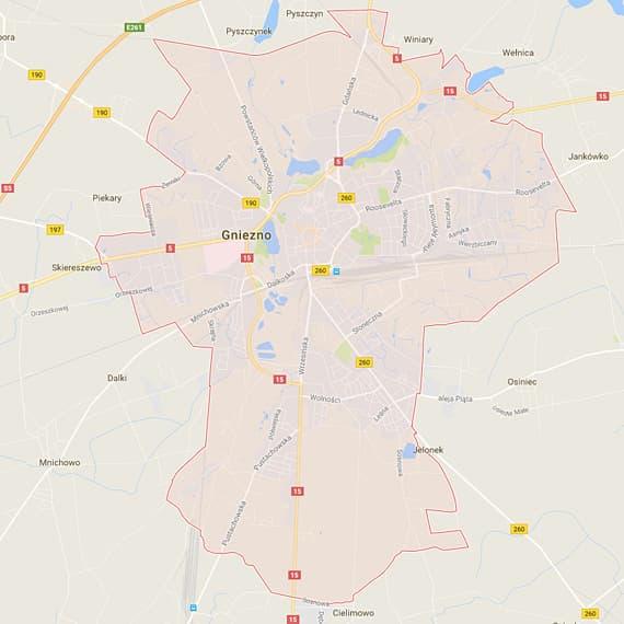 Skup aut i motocykli Gniezno - mapa
